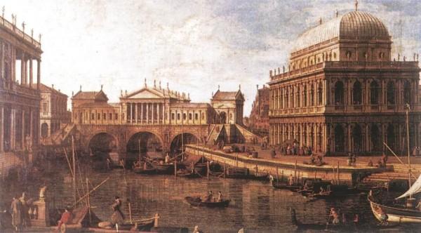Giovanni_Antonio_Canal,_il_Canaletto_-_Capriccio_-_a_Palladian_Design_for_the_Rialto_Bridge,_with_Buildings_at_Vicenza_-_WGA03938