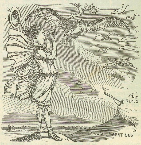 Romolo consulta gli auguri. Comic History of Rome, John Leech (1850).