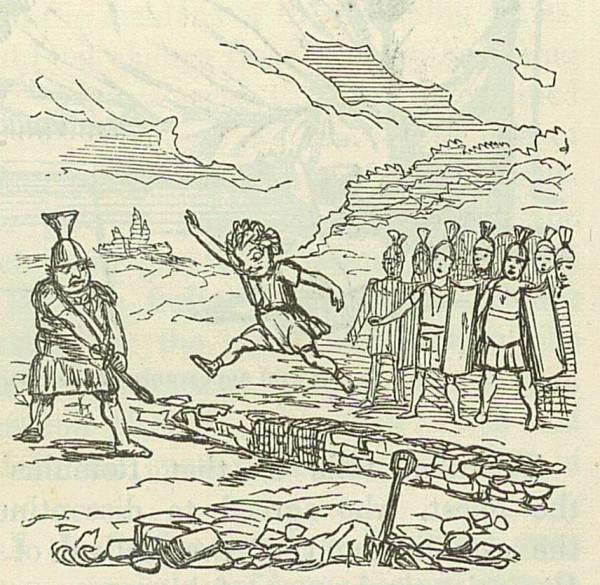 Remo salta oltre le mura. Comic History of Rome, John Leech (1850).