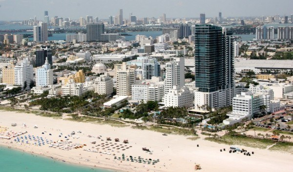 Southern portion of Miami Beach with downtown Miami in background.