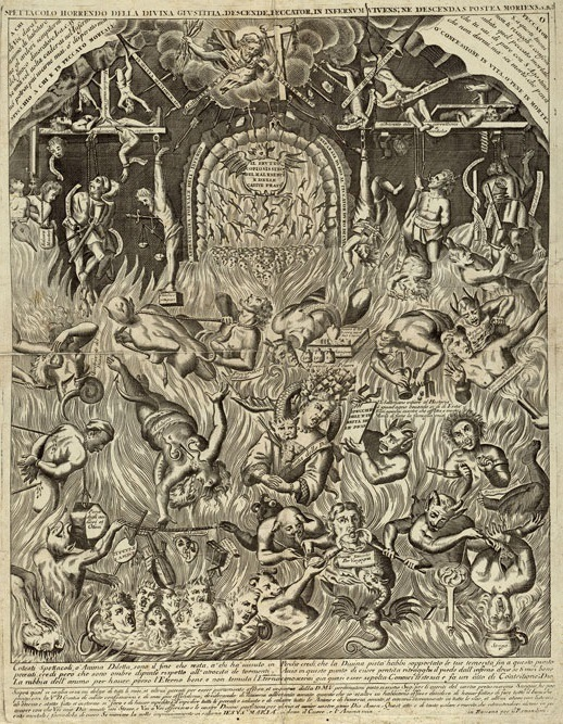 Loosely translated, The Horrid Spectacle of Divine Justice. Horrendous indeed: bodies are being tortured in a variety of ways by demons and by machines. Objects and creatures flood the scene, some are familiar, like swords, cauldrons and bellows; others, such as the snake-like dragon twisted around the neck of the lady at the center of the engraving, not so much. (Remondini, Spettacolo Horrendo della Divina Giustitia, 17th c., University of Texas Austin)