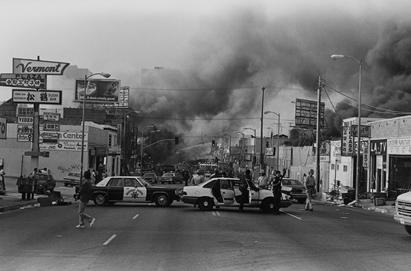 Gary Leonard, Torched Buildings, Los Angeles Riots, 1992