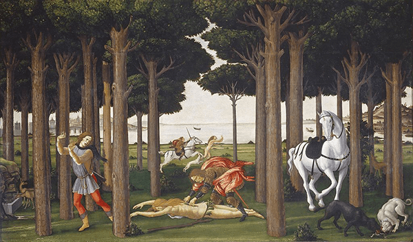 Sandro Botticelli, The Story of Nostalgio Degli Onesti II, ca. 1483. Prado, Madrid.